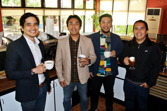 (L-R) Young business partners Jojit Restauro, Joshua Tarraya, Francis Guanco and Dan Tarraya take you to a different coffee experience at the daily beans coffee lounge and restaurant in Antipolo.